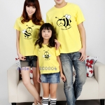 ชุดครอบครัว เสื้อครอบครัว ลายสกรีน ผึ้ง สีเหลือง - พร้อมส่ง
