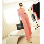 [Preorder] จั๊มสูทแฟชั่นแขนสามส่วนขายาวพร้อมเข็มขัดเก๋ๆ สีชมพู Jingjing home 2013 spring new Korean women summer in the sleeve piece pants jumpsuit (Belt)