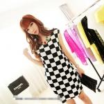 [Preorder] เดรสทำงานแฟชั่นแขนกุด ลายตาราง สีขาวดำ 2013 summer new Korean Women stretch pocket retro suit short-sleeved dress