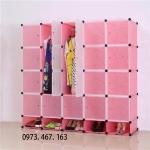 ตู้ DIY สีชมพู ลายเส้น ขนาดช่องละ 37x37 ซม. รับน้ำหนักได้ช่องละประมาณ 10-15 กิโลกรัม (ขนาด 12 และ 16 แถมชั้นวางรองเท้า)