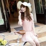 [Preorder] เดรสแฟชั่นแขนสามส่วนระบายพลีทรอบเปิดไหล่ สีชมพู 2013 spring and summer chiffon dress Korean version of sweet loose pleated strapless flounced sleeve fashion