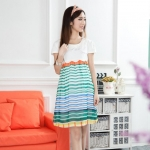[Preorder] เดรสคลุมท้องแฟชั่นแขนสั้นลายขวาง สีเขียว Korean version of the new 2013 summer clothes Maternity fashion pregnant women skirt pregnant women dress sub summer lace crochet collar