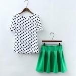 [Preorder] เซ็ทเสื้อแฟชั่นแขนสั้นสีขาวลายจุด + กระโปรงบานสั้นสีเขียว (ไซส์ S M L) 2015 summer new Korean version of sweet Polka Dot printed short-sleeved T-shirt + solid color tutu skirt female two-piece suit