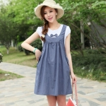 [Preorder] ชุดคลุมท้องสำหรับว่าที่คุณแม่ประดับโบว์ สีฟ้า Cotton skirt pregnant women dress blue bow Maternity leave two short-sleeved summer Korean