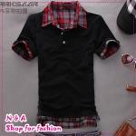 เสื้อโปโลแขนสั้นสีดำ Summer 2012 New Men's T-shirt Slim false two T-shirts Korean men's fashion TEE tide