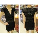 [Preorder] เดรสแฟชั่นลูกไม้แขนสั้นคอวี สีดำ 2013 new spring super sexy V-neck lace elastic lace shirt Slim primer shirt