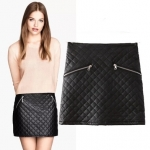 [Preorder] กระโปรงหนังแฟชั่นทรงเอ สีดำ (ไซส์ S M L) Cotton Village 2014 winter new European style quilted cotton plaid zipper PU leather female leather skirt package hip skirt skirts