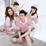 ชุดครอบครัว เสื้อครอบครัวลายขวางขาวแดง (ราคา 3 ตัว พ่อ แม่ ลูกชาย) - พร้อมส่ง