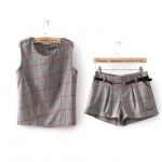 [Preorder] เซ็ทเสื้อแขนกุดแฟชั่นลายตาราง + กางเกงขาสั้นลายเดียวกับเสื้อ สีเทา (ไซส์ S M L XL) 2015 summer new Korean fashion ladies small fragrant style sleeveless shirt + sub female casual shorts suit