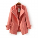 [Preorder] เสื้อโค้ทกันหนาวแฟชั่นแขนยาวสไตล์ยุโรป สีชมพู (ไซส์ S M L XL) Cotton Village Station 2014 fall new European fashion ladies solid color simple oblique zipper sweater coat jacket women