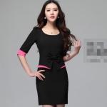 [Preorder] เดรสทำงานแฟชั่นแขนสามส่วนประดับโบว์ สีดำ (ไซส์ S M L XL 2XL 3XL 4XL) 2015 spring new summer clothes jewelry shop show beautician sleeve dress temperament bag hip skirt