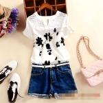 [Preorder] เสื้อแฟชั่นแขนสั้นสไตล์เกาหลี ปักลายเก๋ๆ ลายดอกไม้สีดำ 2015 summer new women's round neck small slit hollow Slim short sleeve T-shirt embroidered flowers