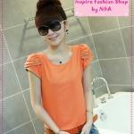[Preorder] เสื้อแฟชั่นแขนสั้นสีส้ม gold petal sleeves zip round neck short sleeve chiffon shirt Slim female models 3 colors