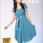เดรสแขนตุ๊กตาสีฟ้า double hot temperament of colored silk dress