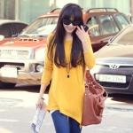 NAK Classic เสื้อคอปาดแขนยาวผ้ายืดเนื้อนิ่มสีเหลือง