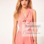 [Preorder] จั๊มสูทแฟชั่นผ้าชีฟองคอวี สไตล์ยุโรปโบว์ผูกที่ปกเสื้อ สีชมพู สำหรับสาวไซส์เล็ก - สาวไซส์ XXL V-neckline tie waist sleeveless solid color chiffon one-piece piece dress shorts