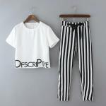 [Preorder] เซ็ทเสื้อยืดแขนสั้นสกรีนตัวอักษรภาษาอังกฤษสีขาว + กางเกงขายาวลายทางสีขาวสลับดำ (ไซส์ S M L) 2015 summer new Korean Women round neck letters printed short-sleeved T-shirt + striped pants suit fashion tide
