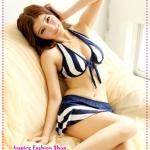 บิกินนี่กระโปรงลายทางสีน้ำเงิน Striped tie neck bikini two groups Tokyo Fashion 100% (Preorder)