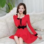 [Preorder] เดรสทำงานแฟชั่นสไตล์เกาหลีประดับโบว์ สีแดง (ไซส์ M L XL XXL) 2014 Hot Korean fashion fresh and sweet temperament lady was thin Slim A word skirt dress