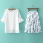 [Preorder] เซ็ทเสื้อแฟชั่นแขนสามส่วน + กระโปรงบานสั้นลายดอกกุหลาบ (ไซส์ S M L) 2015 summer new Korean version of sweet lotus sleeve shirt + printing double big swing skirts two-piece suit
