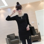 [Preorder] เดรสแฟชั่นแขนยาวเข้ารูปคอวี สีดำ 2012 the new thickened models of the winter section classic dress V-neck long-sleeved Slim wild dress