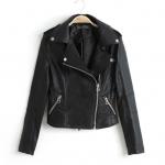 [Preorder] เสื้อแจ๊กเก็ตหนังแฟชั่นแขนยาวสไตล์ยุโรป สีดำ Europe and America star style rivets with female models Slim black leather motorcycle jacket suit jacket