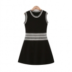 [Preorder] เดรสแฟชั่นแขนกุดสไตล์ยุโรป สีดำ European Grand Prix 2015 winter new women's retro ethnic wind Slim thin knit dress dress vest, skirt