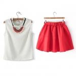 [Preorder] เซ็ทเสื้อแขนกุดสีขาว (พร้อมสร้อยคอเก๋ๆ) + กระโปรงสั้นสีแดง (พร้อมเข็มขัด) (ไซส์ S M L) Angelababy Yang Ying same T-shirt + tutu skirt suit jumpsuit send Ruby Pearl Necklace