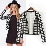 [Preorder] เสื้อสูทแฟชั่นแขนยาวลายตาราง แบรนด์ ASOS สีขาวดำ (ไซส์ S M L XL) ASOS MICN Women 2014 Hitz European and American style casual plaid shirt female short coat jacket