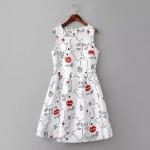 [Preorder] เดรสแฟชั่นแขนกุดสไตล์ยุโรป สกรีนลายเก๋ๆ สีขาว (ไซส์ S M L) MICN 2015 spring and summer new European style women's lips beautiful pattern vest dress sleeveless dress skirt