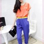 จั๊มสูทแฟชั่นสีส้มฟ้าพร้อมเข็มขัดสีเหลือง designs of mixed colors hit the color big piece harem pants