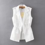 [Preorder] เสื้อแจ๊กเก็ตแฟชั่นแขนกุดสไตล์เกาหลี สีขาว (ไซส์ S M L) 2015 summer new Korean OL fashion waist was thin white women cool breathable vest vest summer