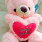"""ตุ๊กตาหมีบอกรัก กอดหัวใจ ปักลาย """" happy Birthday """" ขนาด 40 CM สีชมพู"""