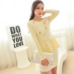 [Preorder] ชุดเสื้อกระโปรงทำงานแฟชั่นแขนยาวเข้ารูปสำหรับสาวไซส์เล็ก สีครีม 2013 winter new Korean Women Slim small fragrant wind-piece skirt suit coat bag
