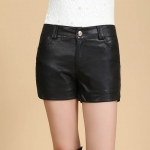 [Preorder] กางเกงหนังแฟชั่นสั้นเข้ารูป (ไซส์ M L XL 2XL 3XL 4XL) 2014 new winter leather shorts leather pants female Korean fashion leggings, boots, pants big yards short pu leather pants