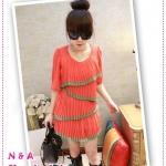 เสื้อหรือเดรสชีฟองแขนสามส่วนสีส้ม Korean version of the round neck strap individually decorated casual T-shirt
