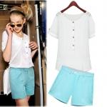 [Preorder] เซ็ทเสื้อแขนสั้นแฟชั่นสีขาว + กางเกงขาสั้น สีฟ้า (ไซส์ S M L XL) 2015 European and American women new summer fashion loose short-sleeved white chiffon shirt dignified atmosphere blue shorts