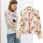 [Preorder] เสื้อแจ๊กเก็ตแขนยาวลายดอกไม้ แบรนด์ ZARA(ไซส์ S M L) ZARA Spring 2014 new European style flower print with contrast color models fruits jacket baseball uniform jacket women
