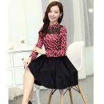 [Preorder] เดรสทำงานแฟชั่นแขนยาวลายหัวใจ สีแดง (ไซส์ S M L XL XXL) Large size women's new winter high-end temperament Slim package hip long-sleeved floral lace dress bottoming short skirt
