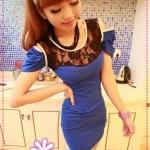 เดรสแฟชั่นแขนสั้นเปิดไหล่ประดับ ลูกไม้สีฟ้า 2012 and summer of Korean version of the hollow strapless tight sexy package hip the lace nightclub dress