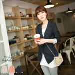 [Preorder] เสื้อสูทแฟชั่นแขนยาวชายแขนเสื้อลายจุด สีน้ำเงิน Korean series little reflexed jacket