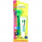 อุปกรณ์ทำความสะอาดลิ้นพร้อมยาสีฟันเด็นเทียม (สีฟ้า)