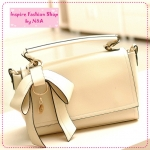 [Preorder] กระเป๋าแฟชั่นเก๋ๆ ประดับโบว์น่ารักสีครีม 2012 summer new Korean bow bags handbags handbags Messenger handbags