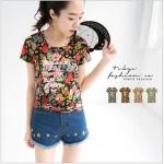 [Preorder] เสื้อแฟชั่นแขนสั้นลายดอกไม้ แบรนด์ Tokyo Fashion สีดำ Long letters painted flowers cotton