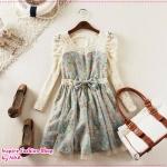 เดรสแฟชั่นแขนยาวสกรีนลายดอกไม้สีฟ้า 2012 spring new Korean female sweet floral waist bow lace stitching bottoming dress