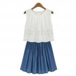 [Preorder] เดรสแฟชั่นแขนกุดสไตล์ยุโรปประดับลายปักดอกไม้ สีฟ้า 2013 new summer European style big cowboy stitching sleeveless chiffon lace vest dress