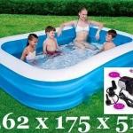 ครบ set Best way pool สระน้ำขนาดกลางค่อนข้างใหญ่ ขนาด 175(ก) x 262(ย) x 51(ส) ซม. ความจุน้ำ 890 L + ปั้มไฟฟ้า