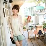 [Preorder] เสื้อสูทแฟชั่นแขนยาวชายแขนเสื้อลายจุด สี Apricot Korean series little reflexed jacket