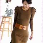 เดรสแขนยาวเข้ารูปสีกาแฟ JackGrace intellectual interpretation! Delicate bud sleeves Slim dress