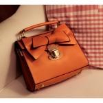 กระเป๋าถือไซส์มินิสีส้มแต่งโบว์น่ารัก แบบฝาเปิด พร้อมสายสะพายยาว